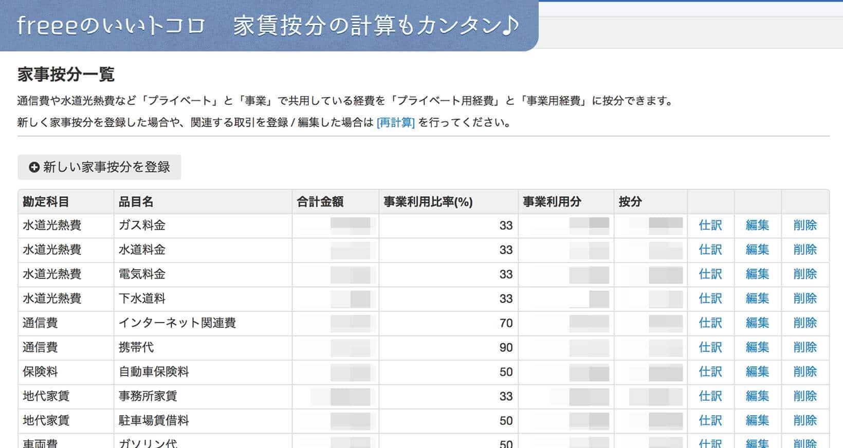 freee 確定申告 オンライン会計ソフト 家賃按分